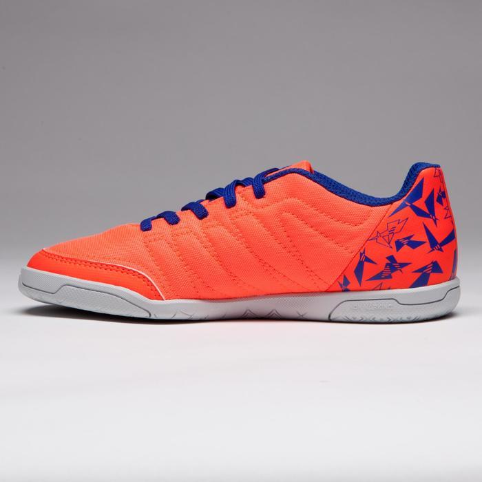 Chaussure de futsal enfant CLR 500 à scratch orange bleue