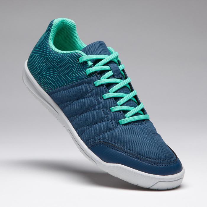 兒童款室內五人制足球鞋CLR 500-藍色/綠色