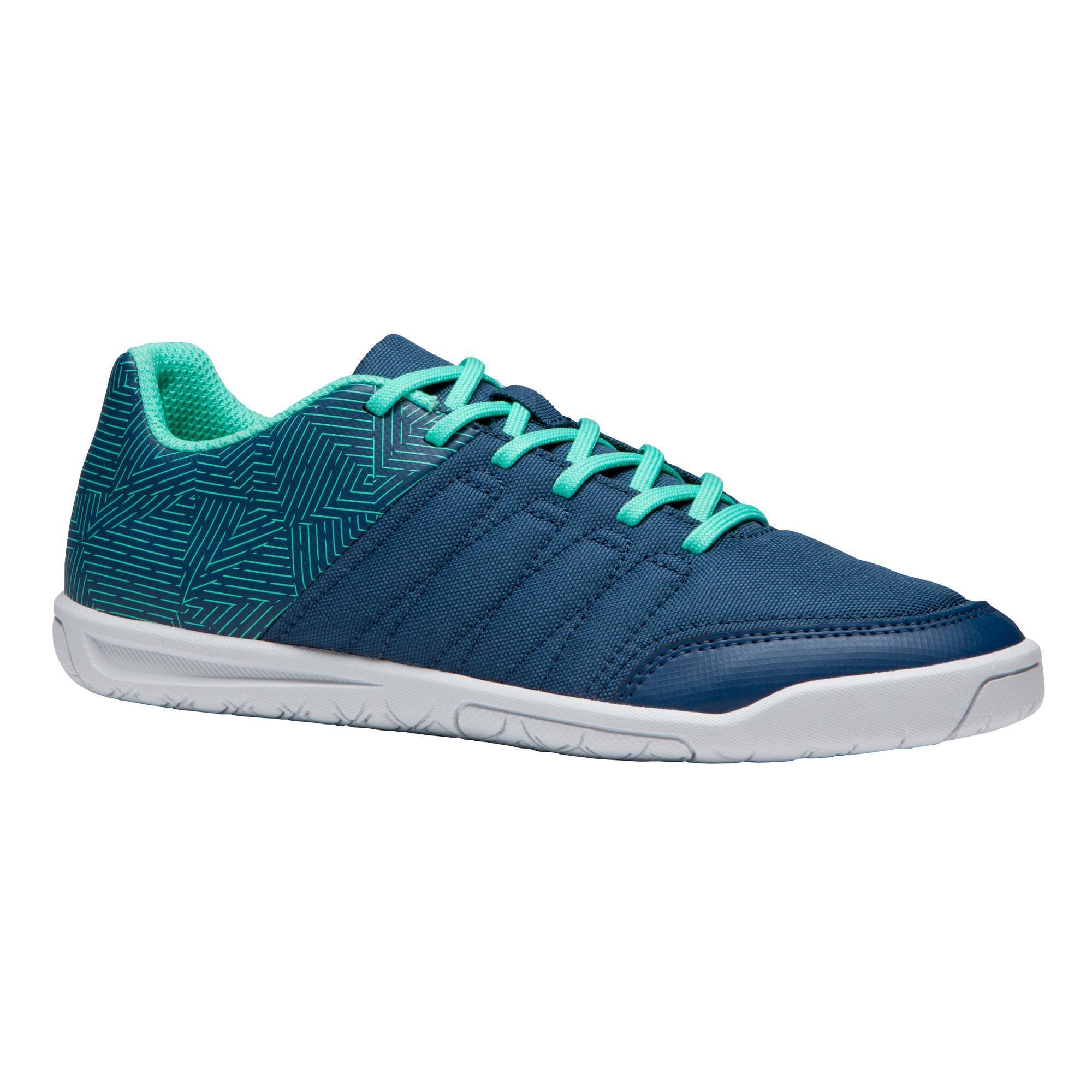 Kipsta Zaalvoetbalschoenen kind CLR 500 blauw/groen