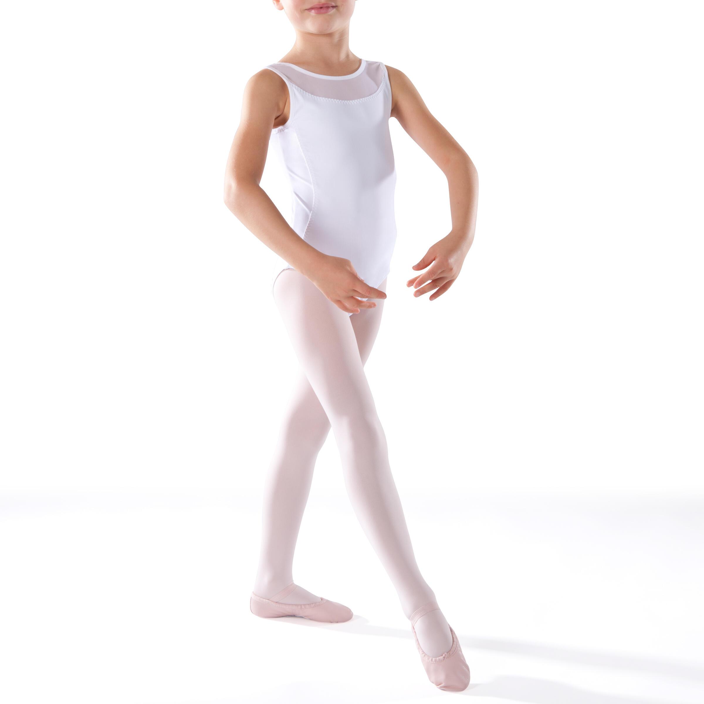 Payasito para danza clásica en dos tejidos niña blanco