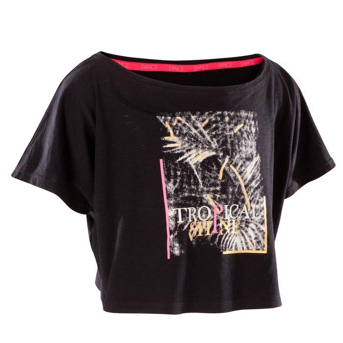 T-shirt manches courtes de danse, court et ample, fille noir - 1269996