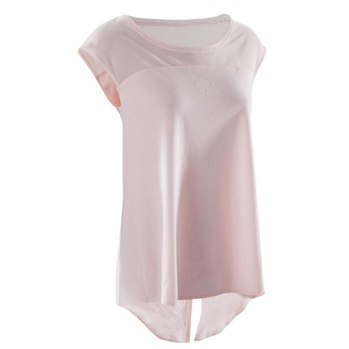 T-shirt manches courtes de danse femme rose pâle - 1270001