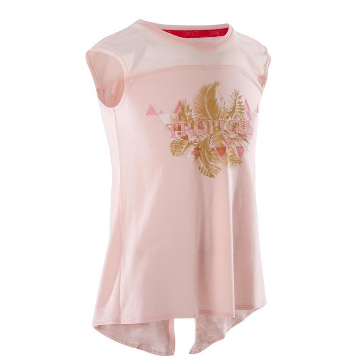 T-shirt manches courtes de danse fille rose pâle - 1270009