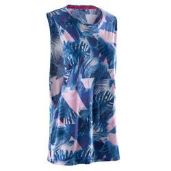 Mouwloos dansshirt voor dames blauw en wit
