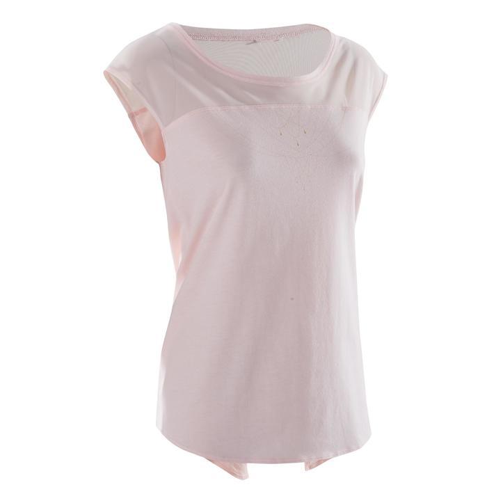 T-shirt manches courtes de danse femme rose pâle - 1270024