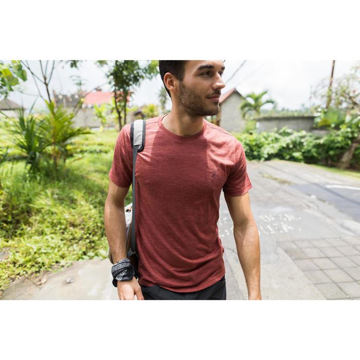 Camiseta Manga Corta de Montaña y Trekking Forclaz 500 Lana Merina Hombre Rojo