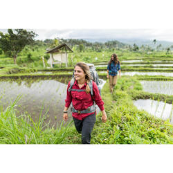 Chemise manches longues trekking TRAVEL 500 modul femme bordeaux