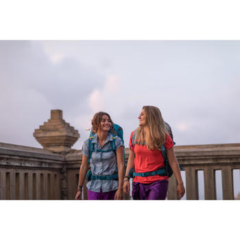 Trekkingbluse kurzarm Travel 100 Damen blau