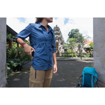 Omvormbare damesblouse Travel 500 met lange mouwen blauw