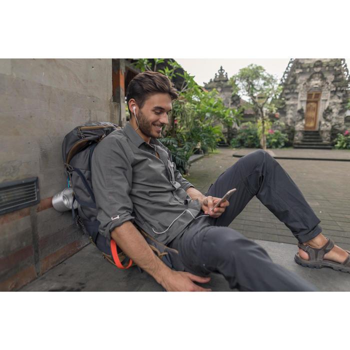 Overhemd met lange mouwen voor trekking heren Travel 500 omvormbaar kaki