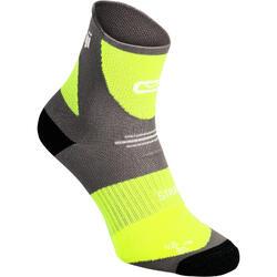 Dikke sokken met strap Kiprun grijs/geel