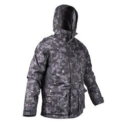 HUNTING WARM WATERPROOF JACKET 500 - ISLAND CAMOUFLAGE BLACK