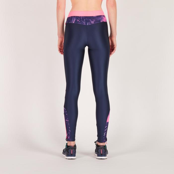 Legging fitness cardio femme bleu marine et imprimés tropicaux roses 500 Domyos - 1270704