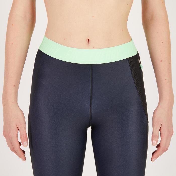 Legging 7/8 fitness cardio femme bleu marine détails tropicaux 500 Domyos - 1270707