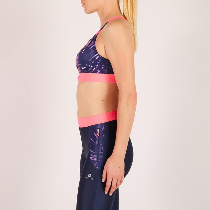 Brassière zip fitness cardio femme imprimés tropicaux roses 900 Domyos - 1270725
