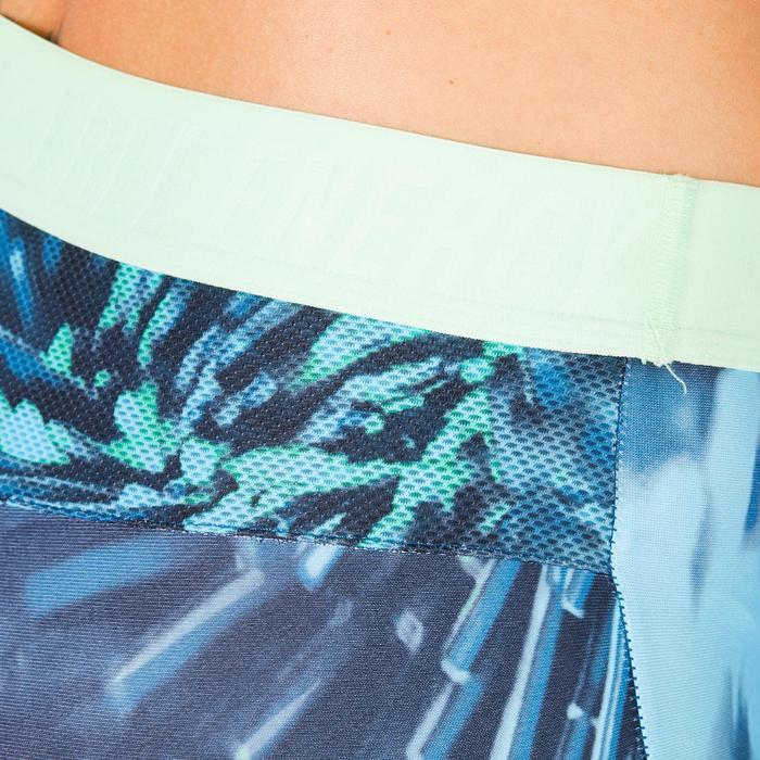 Legging fitness cardio femme noir à imprimés tropicaux bleus 500 Domyos