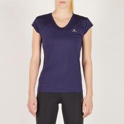 Camiseta manga corta Cardio Fitness Domyos FTS 100 mujer azul marino
