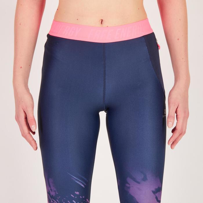Legging fitness cardio femme bleu marine et imprimés tropicaux roses 500 Domyos - 1270760