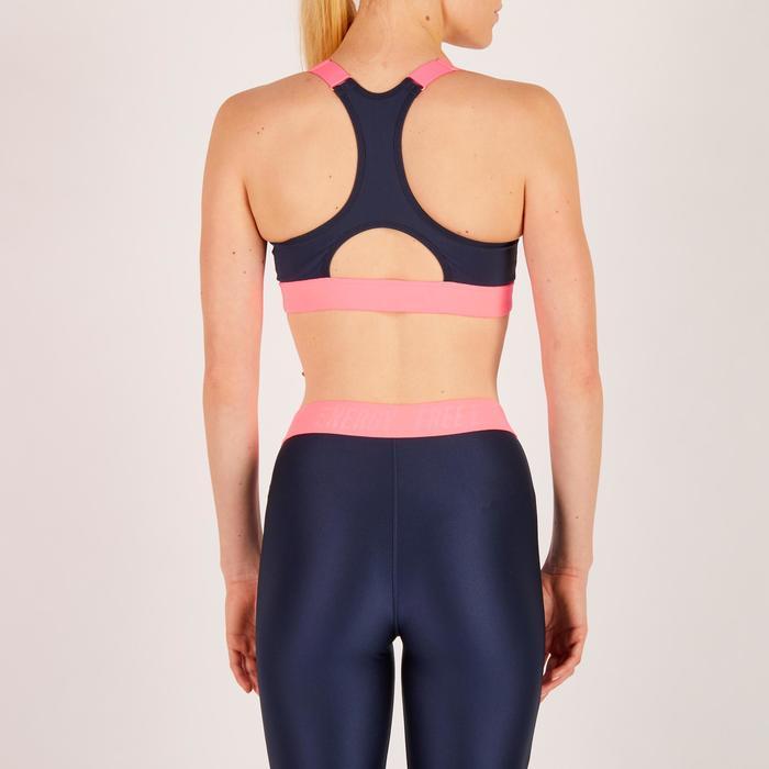 Brassière zip fitness cardio femme imprimés tropicaux roses 900 Domyos - 1270767