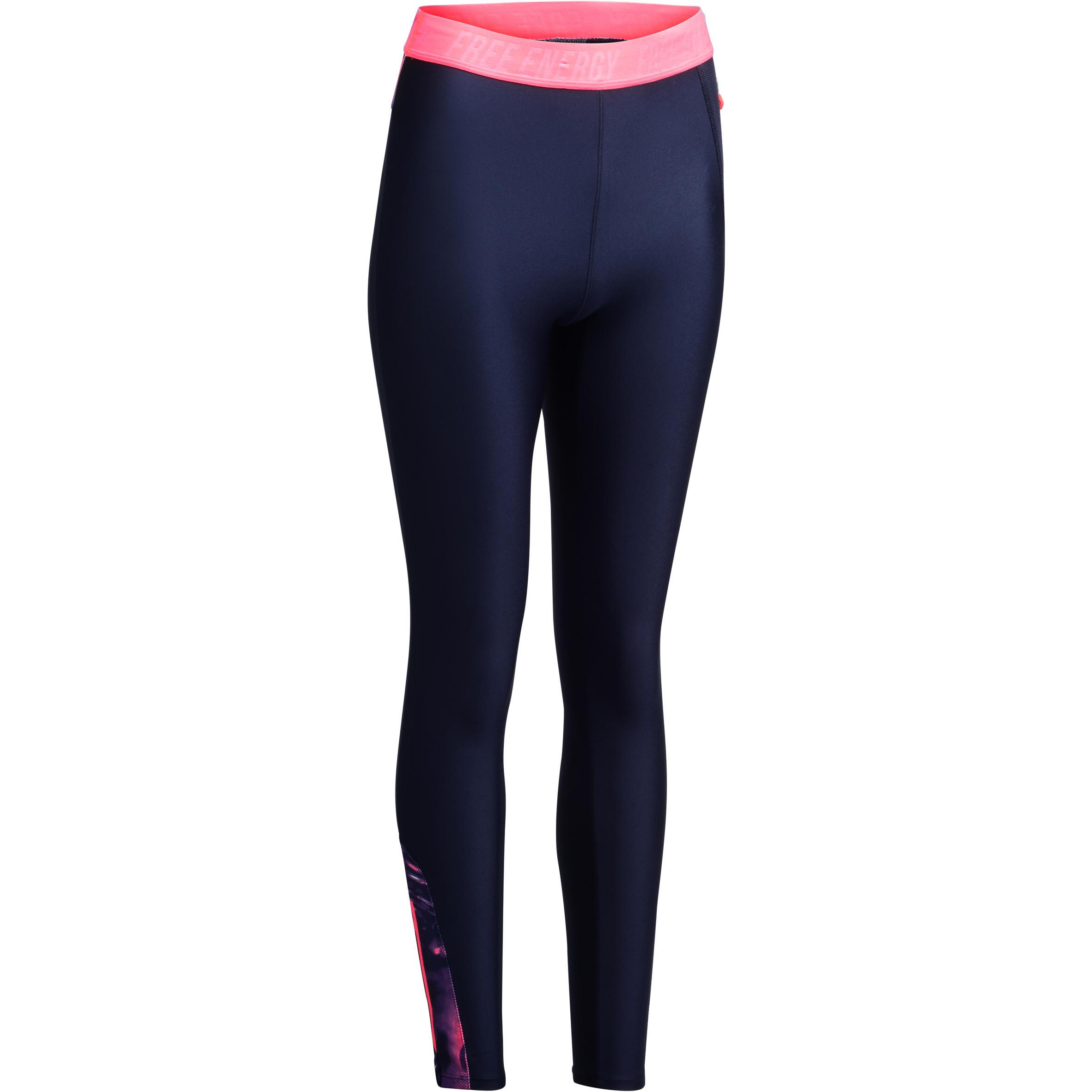 Leggings fitness cardio mujer azul marino estampados tropicales rosa 500 Domyos
