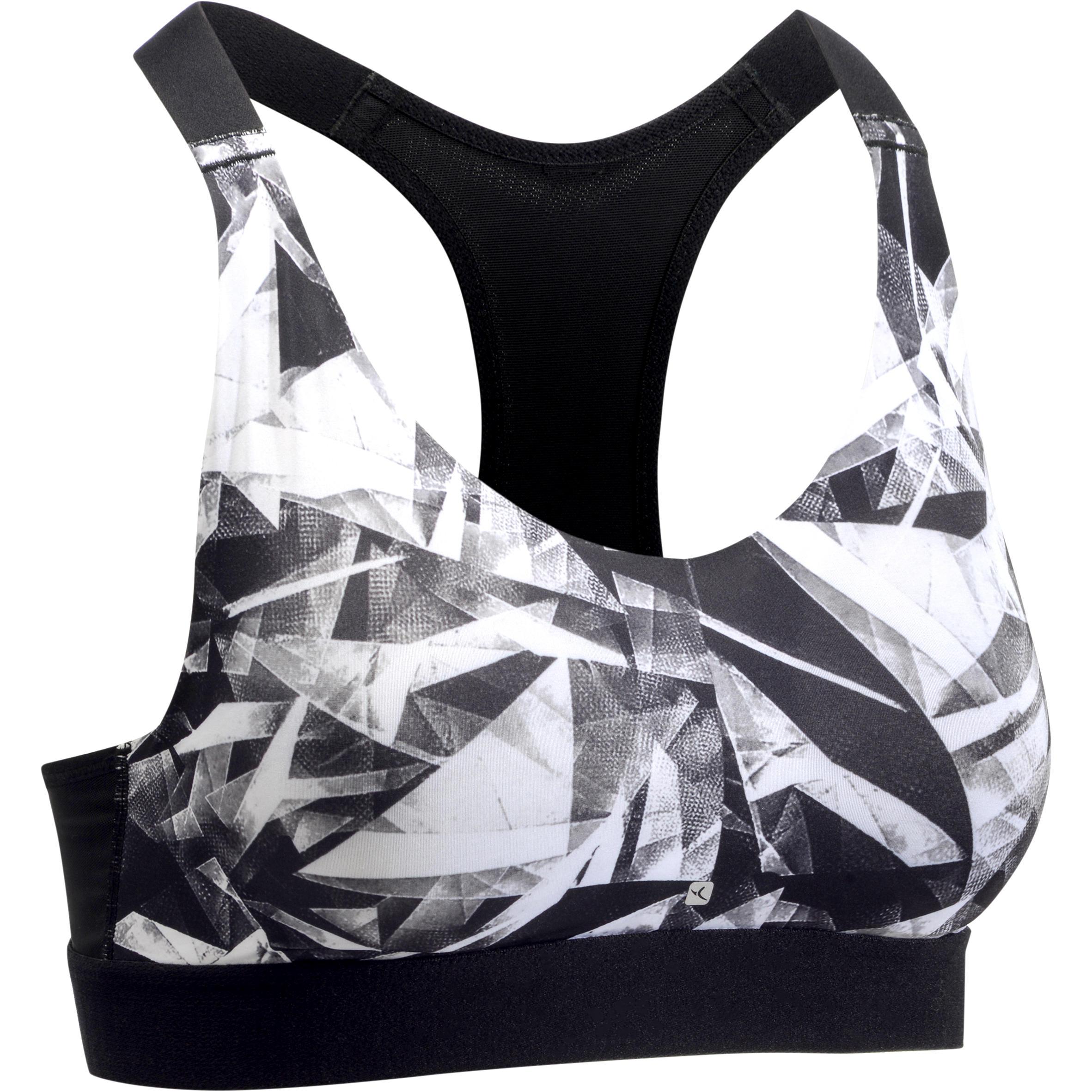 Brassiere-top fitness cardio mujer estampados geométricos negros 500 Domyos