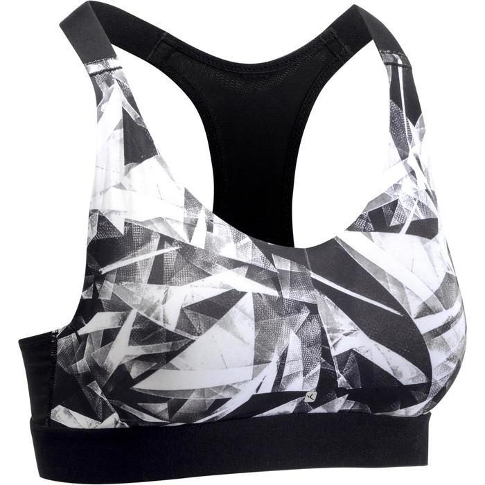 Brassière fitness cardio femme imprimés géométriques noirs 500 Domyos - 1270772