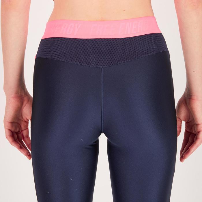 Legging fitness cardio femme bleu marine et imprimés tropicaux roses 500 Domyos - 1270776