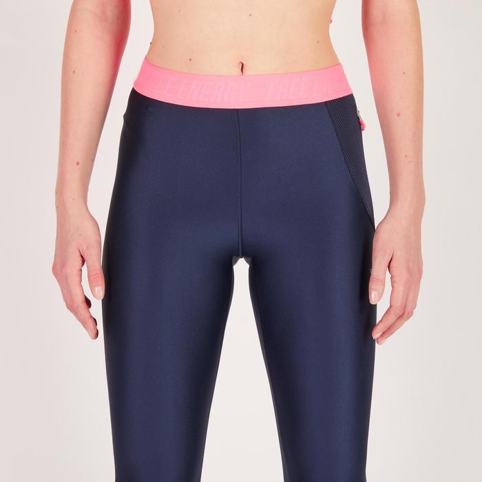 Legging fitness cardio femme bleu marine et imprimés tropicaux roses 500 Domyos - 1270778