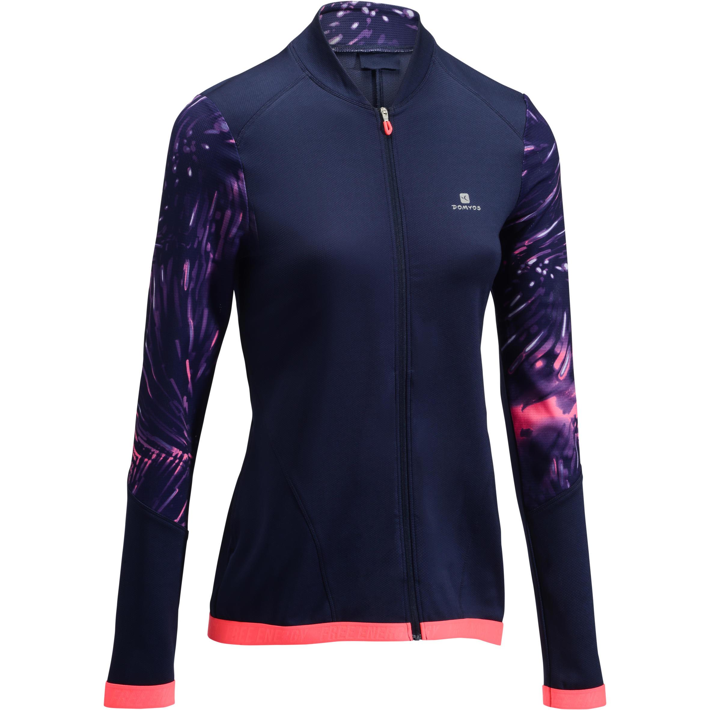 Domyos Fitnesssweater cardiotraining blauw met roze print 500 Domyos