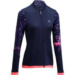 Fitnesssweater cardiotraining blauw met roze print 500 Domyos
