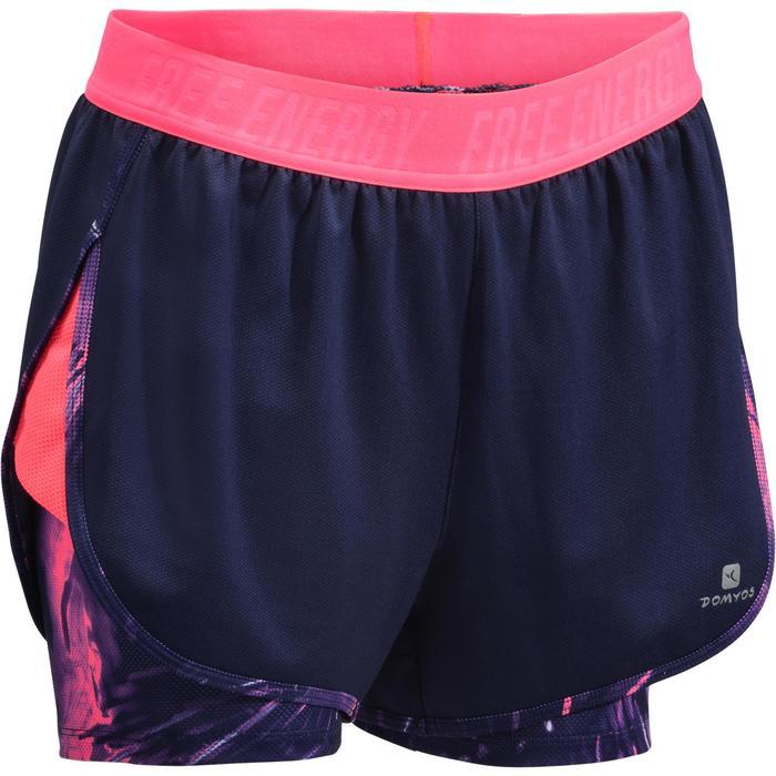Short 2 en 1 fitness cardio femme bleu marine et imprimés roses 520 Domyos - 1270803