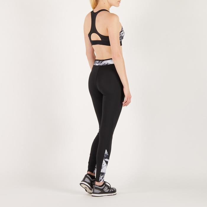 Brassière fitness cardio femme imprimés géométriques noirs 500 Domyos - 1270827
