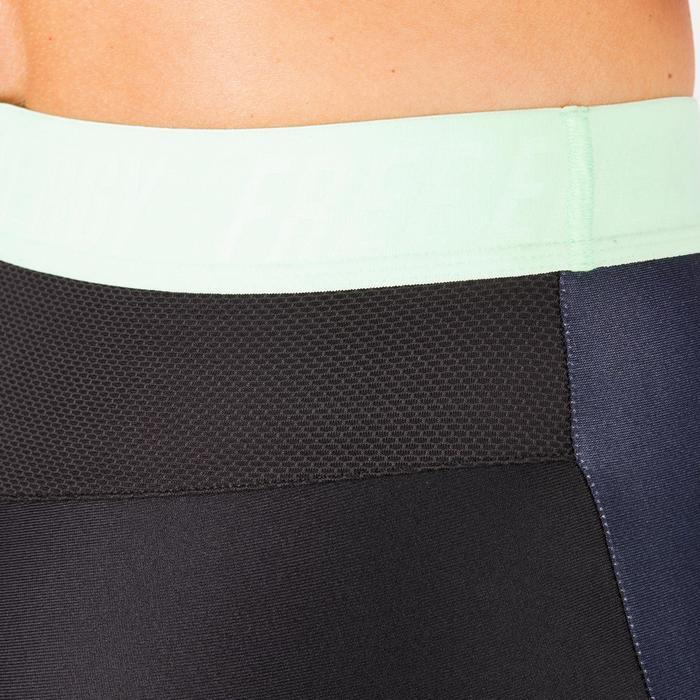 Legging fitness cardio femme bleu marine et imprimés tropicaux roses 500 Domyos - 1270829