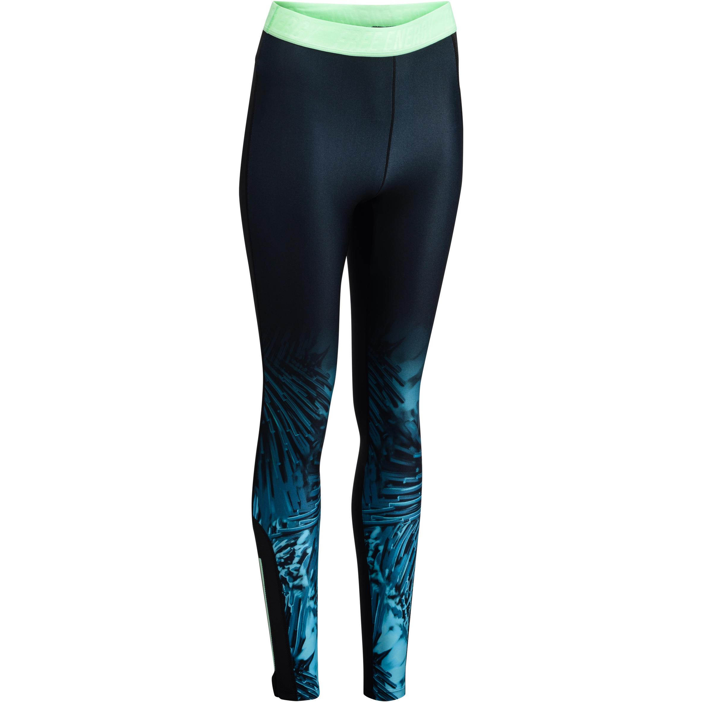 Leggings fitness cardio mujer negro con estampados tropicales azules 500 Domyos