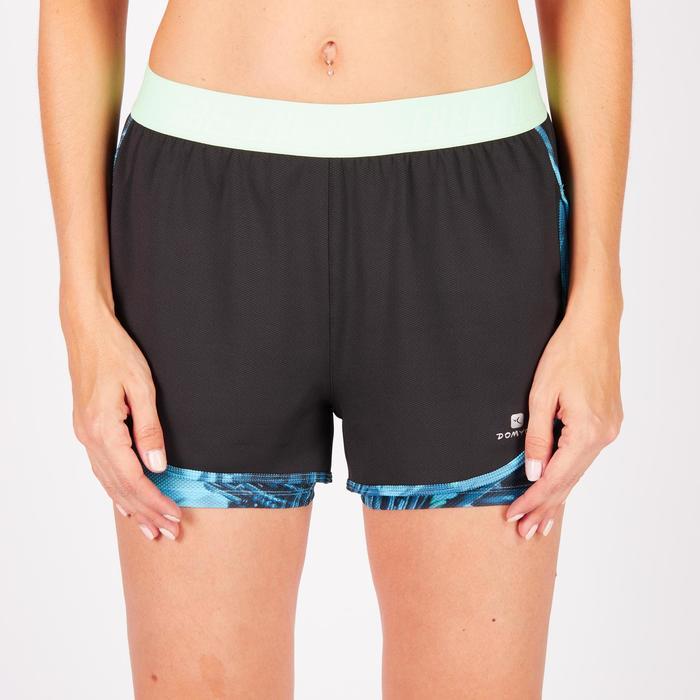 Short 2 en 1 fitness cardio femme bleu marine et imprimés roses 520 Domyos - 1270842