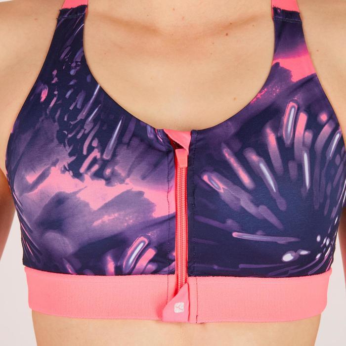 Brassière zip fitness cardio femme imprimés tropicaux roses 900 Domyos - 1270854