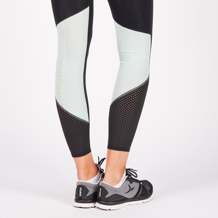 Leggings de fitness cardio para mujer, bicolores negro y verde menta, 900 Domyos