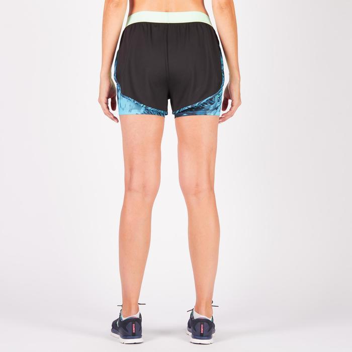 Short 2 en 1 fitness cardio femme bleu marine et imprimés roses 520 Domyos - 1270862