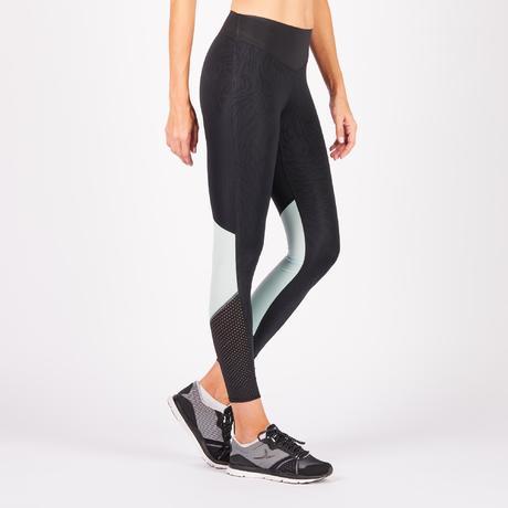 legging fitness cardio femme bicolore noir et vert menthe 900 domyos domyos by decathlon. Black Bedroom Furniture Sets. Home Design Ideas
