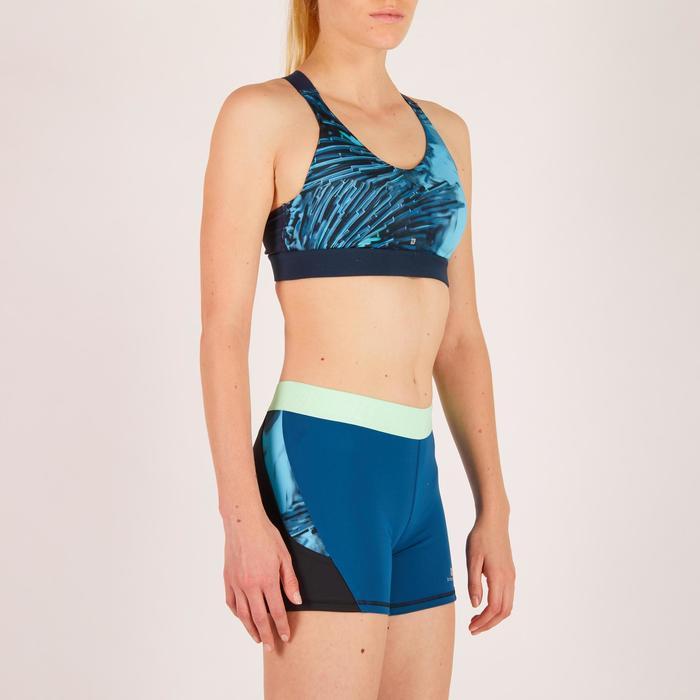 Brassière fitness cardio femme imprimés géométriques noirs 500 Domyos - 1270879