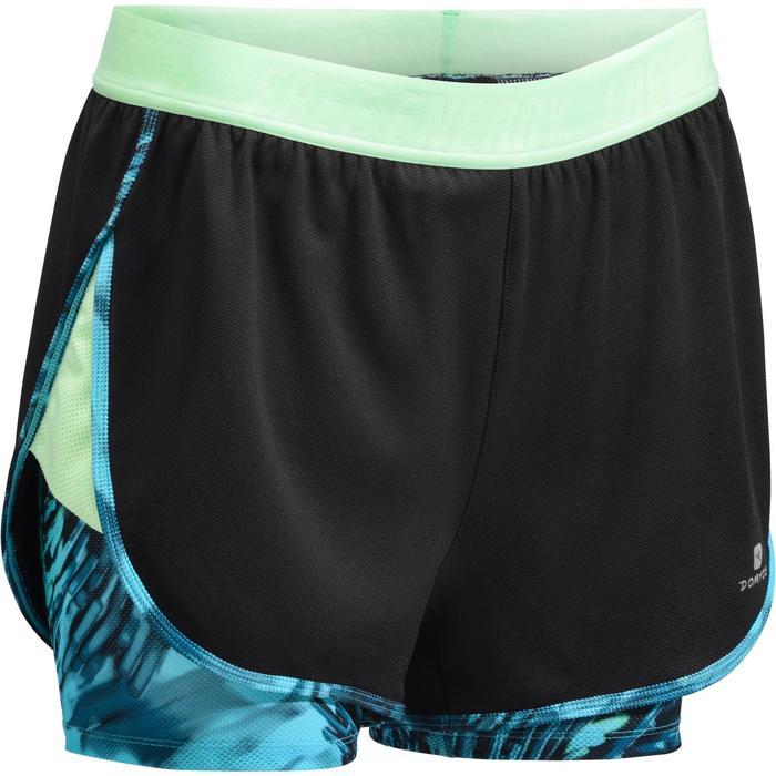 Short 2 en 1 fitness cardio femme bleu marine et imprimés roses 520 Domyos - 1270886