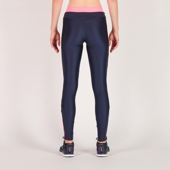 Legging fitness cardio femme bleu marine et imprimés tropicaux roses 500 Domyos - 1270893