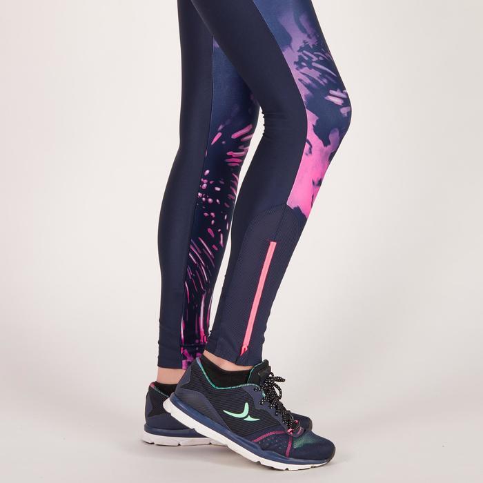 Legging fitness cardio femme bleu marine et imprimés tropicaux roses 500 Domyos - 1270895