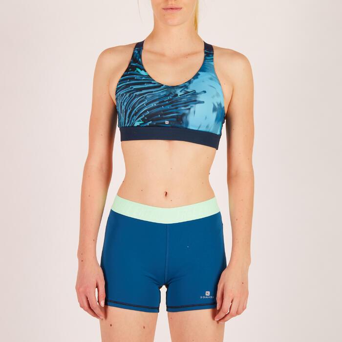 Sport-Bustier Cardio 500 Tropical-Print blau