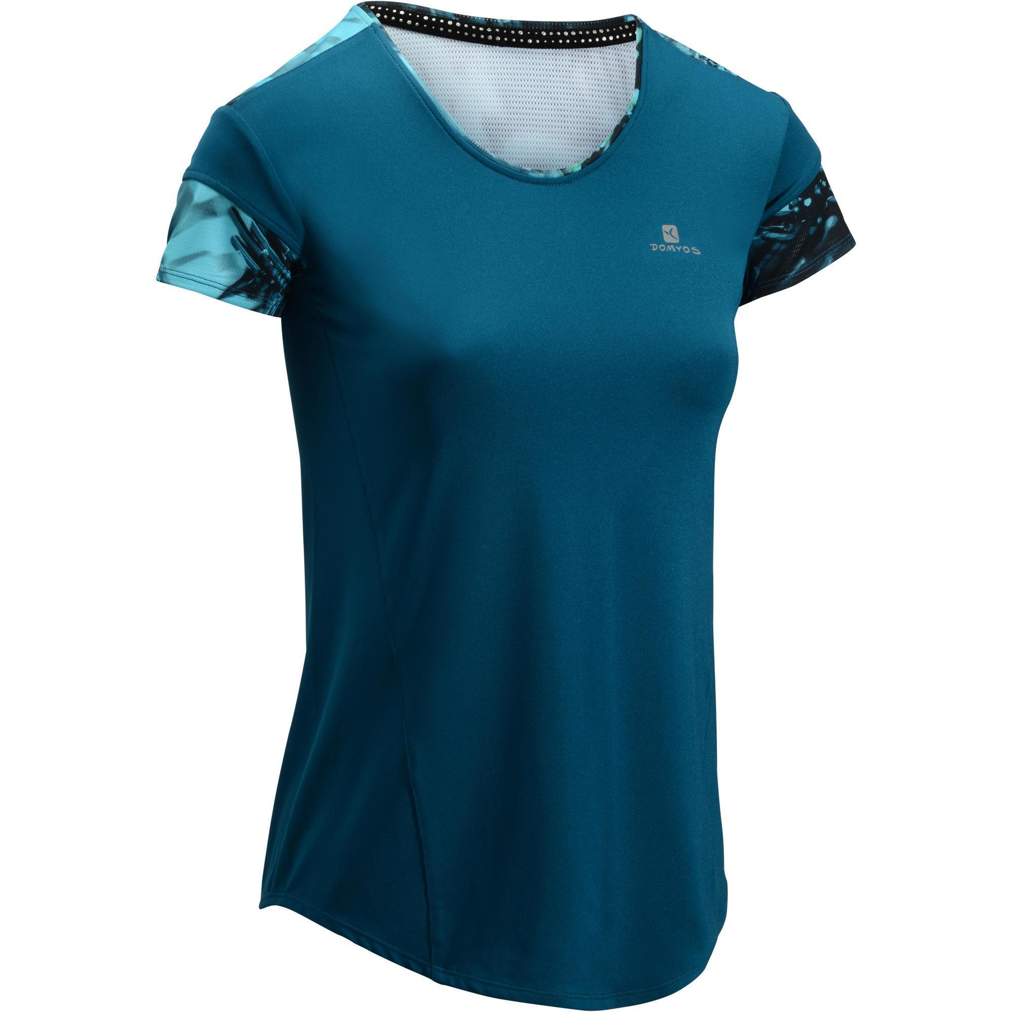 t shirt fitness cardio femme bleu 500 domyos domyos by decathlon. Black Bedroom Furniture Sets. Home Design Ideas