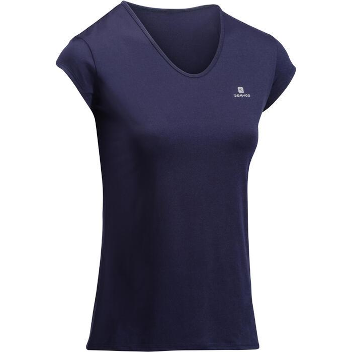 Camiseta Manga Corta Deportiva Fitness Cardio Domyos 100 Mujer Azul Marino