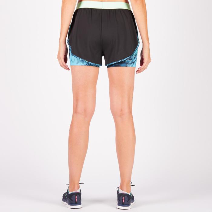 Short 2 en 1 fitness cardio femme bleu marine et imprimés roses 520 Domyos - 1270926