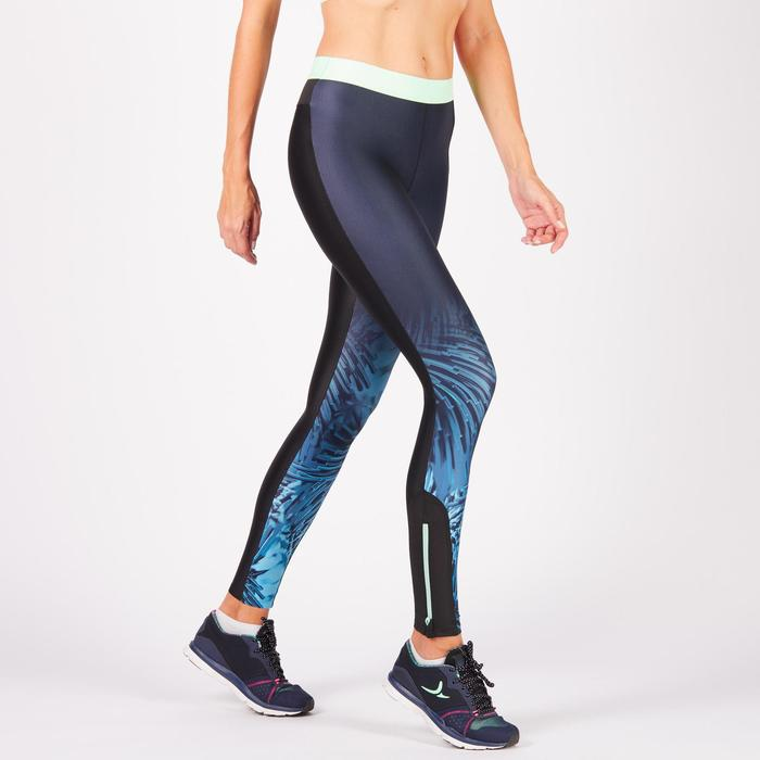 Legging fitness cardio femme bleu marine et imprimés tropicaux roses 500 Domyos - 1270942