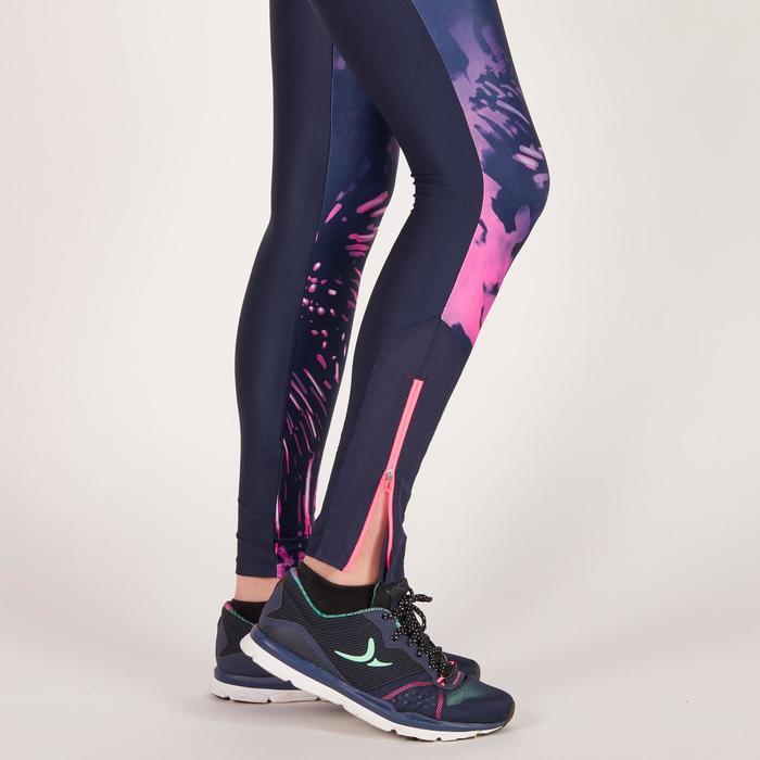 Legging fitness cardio femme bleu marine et imprimés tropicaux roses 500 Domyos - 1270944