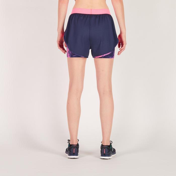 Short 2 en 1 fitness cardio femme bleu marine et imprimés roses 520 Domyos - 1270946
